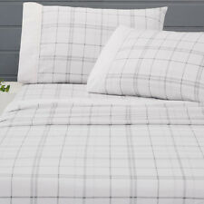 Peterson Flannelette Sheet Set | Cotton | Cuffed & Piped | Double | Queen | King