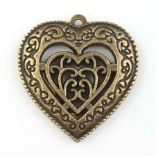 Bronze Heart Pendant Steampunk Antiqued Brass Vintage Lot of 2