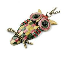 Beautiful Large Enamel & Crystal Owl Pendant Necklace - Statement - Long Chain
