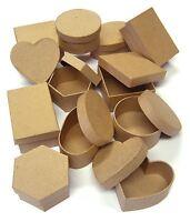 12 Formado Regalo Cajas 6 Diseños & Tapas Para Papel Maché Craft & Pintura