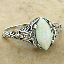 WHITE LAB OPAL 925 STERLING SILVER ANTIQUE FILIGREE DESIGN RING SIZE 8,     #630