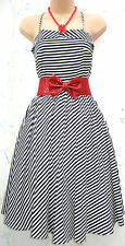 SIZE 14 50's STYLE CANDY STRIPED NAUTICAL COTTON SUMMER DRESS  # US 10 EU 42