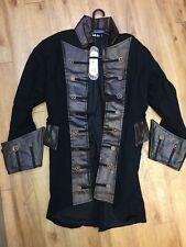 SDL Mens Black Brown Steampunk Cog Admiral Style Coat Faux Leather / M - 2580/r