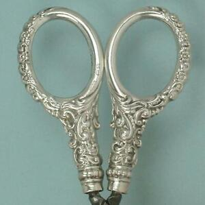 Ornate Antique English Sterling Silver Scissors * Hallmarked 1903