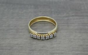 Beautiful Elegant 9ct Yellow Gold 0.25ct Diamond Band Ring UK size N 1/2