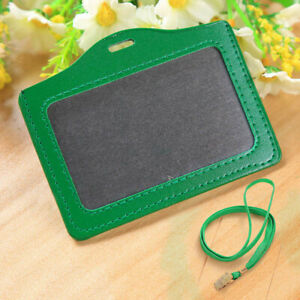Leather Horizontal Vertical ID badge holder with Window and Card Slot Unisex