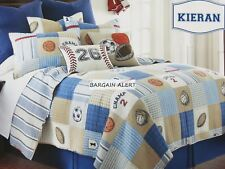 BASEBALL  BASKETBALL   SPORTS  TWIN QUILT  SHEETS  THROW PILLOW  PATCHWORK NEW