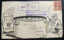 1942 Army PO Australia Censored Illustrated Front Cover To Lismote