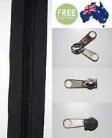 Black Heavy Duty Sewing on Tent, Bag Camping Continuous Zipper, Zip Meter, No 10