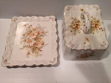 Vintage English Carlton Ware Cheese Dish w/ Handle DAISIES FLOWERS