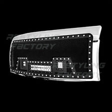 09-14 Ford F150 Rivet Black SS Mesh Grille+Chrome Shell+2x LED+1x LED Light Bar