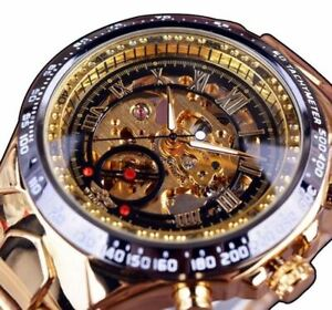 Mens Automatic Mechanical Watches Skeleton Waterproof Stainless Steel Wristwatch