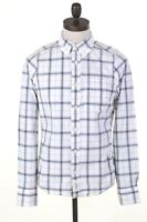 ABERCROMBIE & FITCH Mens Shirt Small White Check Cotton Muscle G204