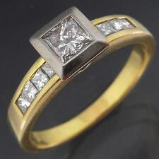 Moden 18k Solid Yellow GOLD Low Set DIAMOND SOLITAIRE RING Val=$3020 Sz P