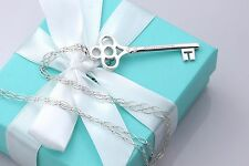 """Tiffany & Co. Silver Large 2.5"""" Crown Key Pendant 34"""" Oval Link Necklace"""