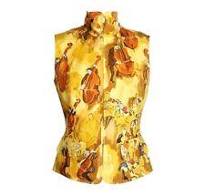 Hermes Vest Vintage Concerto Scarf Print Zipper Front Yellow 38 / 4