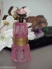 Moser Bohemian Pink Panel Window Perfume Bottle Art Deco Glass Sterling Enamel