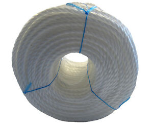 WHITE Polypropylene Rope Coils Poly Rope Nylon Sailing Agriculture Cut Lengths