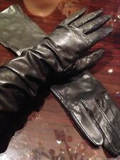 Vintage Black Leather Long Opera Gloves