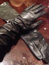 Vintage Black Leather Long Opera Gloves