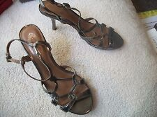 ELLIE TAHARI Ladies Sz 6M (36) Bronze Leather Strappy Slingback Heels Free Ship