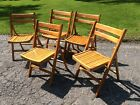 5 Vtg Same MADE IN POLAND Slatted Wood Folding Chairs - Brass Fittings Very Good