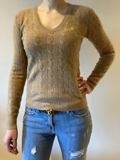 Polo Ralph Lauren Women Cable Knit Camel Melang V Neck Sweater Wool Cashmere