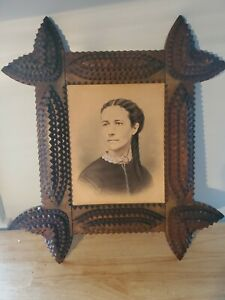 Antique Tramp Art Frame Notched Wood with charcoal drawing of a woman.