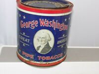 Vintage George Washington Cut Plug Tobacco Tin R J Renyolds w/ Tab & Paper Liner