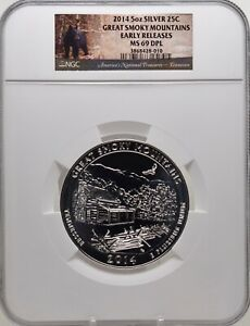 2014 5oz Silver 25C Great Smoky Mountains Early Releases NGC MS 69DPL