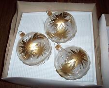 Set 3 Hand Painted Blown Glass Gold Poinsettia Flower Christmas Balls Ornaments