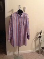 Oleg Cassini Striped Button Front Shirt Size 20/33 Tall