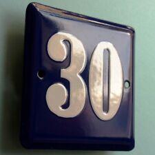 HAUSNUMMER 30 Altes Emailschild um 1955 MAKELLOS Eingang Haustür Türschild FETT