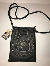 American Bling Crossbody Phone Purse Black with Concho and Metal Embellishments