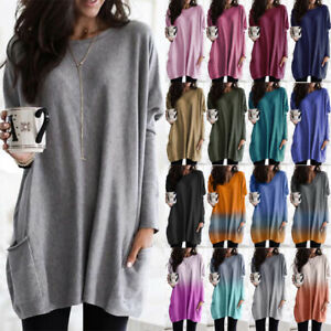 Womens Long Sleeve Pocket Tunic Tops Blouse Ladies Casual Loose Jumper Pullover