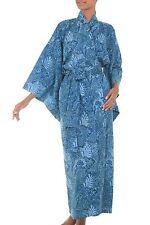 Batik Robe Kimono 'Blue Forest' Women's Cotton One Size Artisan-Made NOVICA Bali