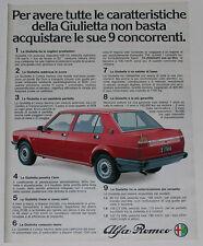 Advert Pubblicità 1980 ALFA ROMEO GIULIETTA