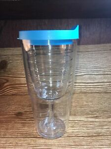 EUC Tervis Tumbler 16 oz Clear Wine Glass Goblet Cup Insulated Clear blue lid