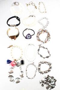 Designer Womens Faux Pearl Leather Beaded Bracelet Lot 15 LL19LL