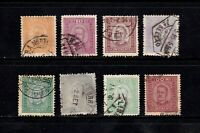 Portugal stamps #67 - 72, 74 & 75, used, short set, 1892 - 1893, SCV $92.25