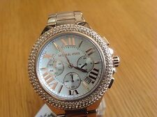 Michael Kors Ladies Camille RoseGold Chronograph Glitz White Dial Watch MK5636