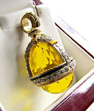SUPERB RUSSIAN EGG PENDANT STERLING SILVER 925 & 24K GOLD CITRINE and ENAMEL