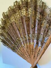 Victorian Antique Lady's Hand Fan Purple Silk with Gold Sequins and Lace
