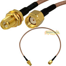 RP-SMA Female with Nut Blukhead to RP SMA Male RF Coax Pigtail Cable RG316 30cm