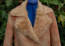 Nuevo 14 gamuza sintética abrigo largo de piel de oveja pesado Arena jaspeado Peluche Largo Forro puños