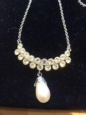 Gota de cristal estrás perlas de imitación Pendiente Collar Mujer Señora Accesorios