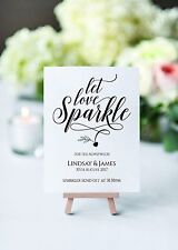 A4 Personalised Sparkler sign for weddings, Anniversaries, Parties - 3 colours