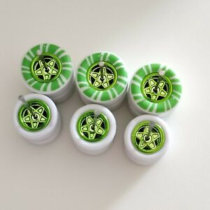 1/64 CUSTOM WHEELS RUBBER GREEN CANDY CANE TIRES 3 SETS 1/64 SIZE 10/13 GASSER