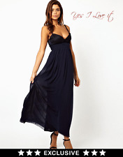 Elise Ryan Cami Maxi Party Evening Dress with Scallop Lace Bust in Navy UK8 EU36