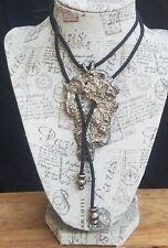 Vintage Sterling Artisan Brutalist Large Pendant Black Cord Necklace